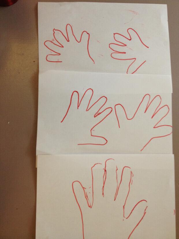 Dessin des contours des mains